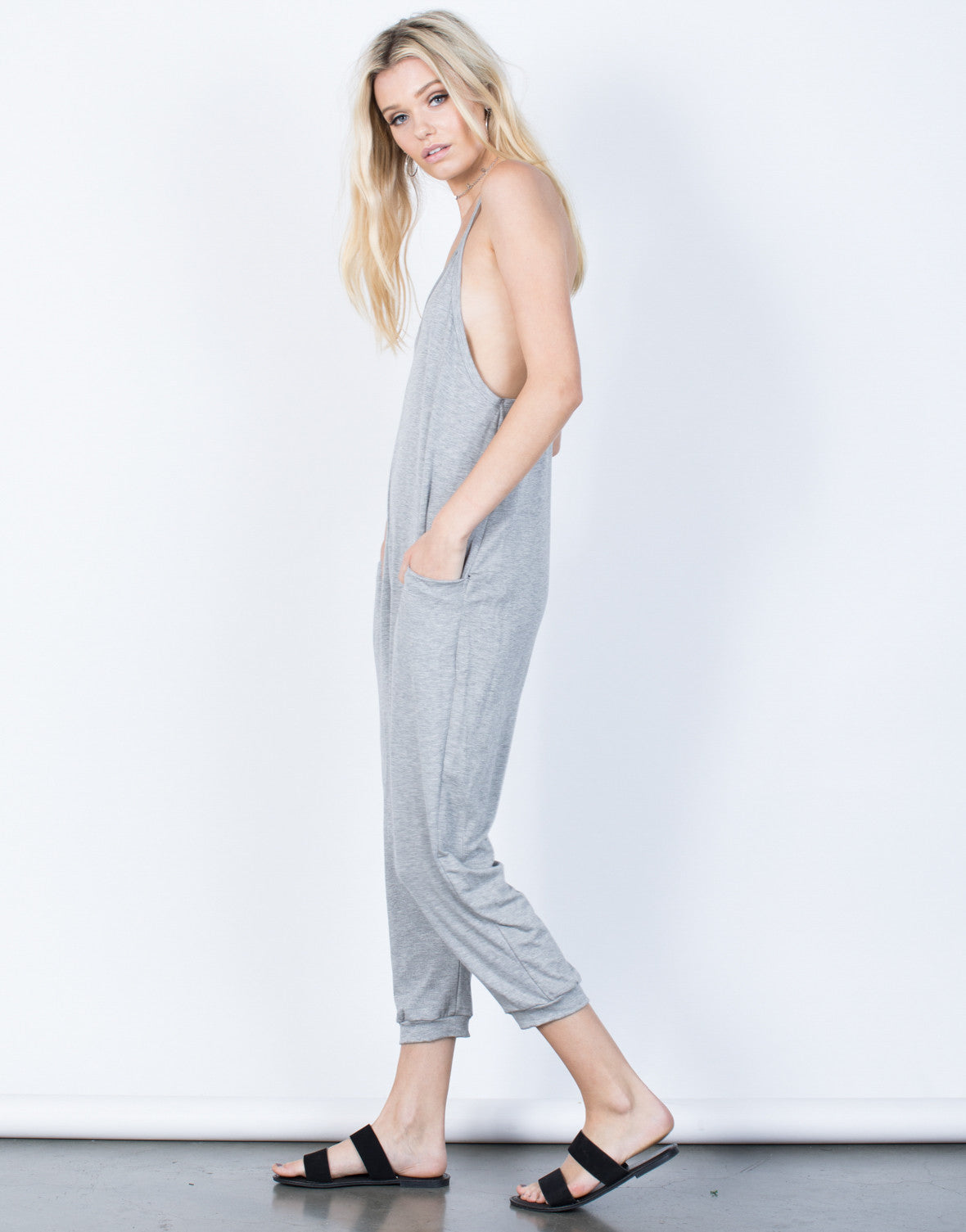Side View of Comfy Lounging Jumpsuit