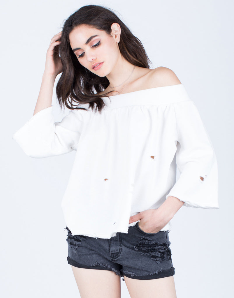 Comfy Off-the-Shoulder Top Tops White Small -2020AVE