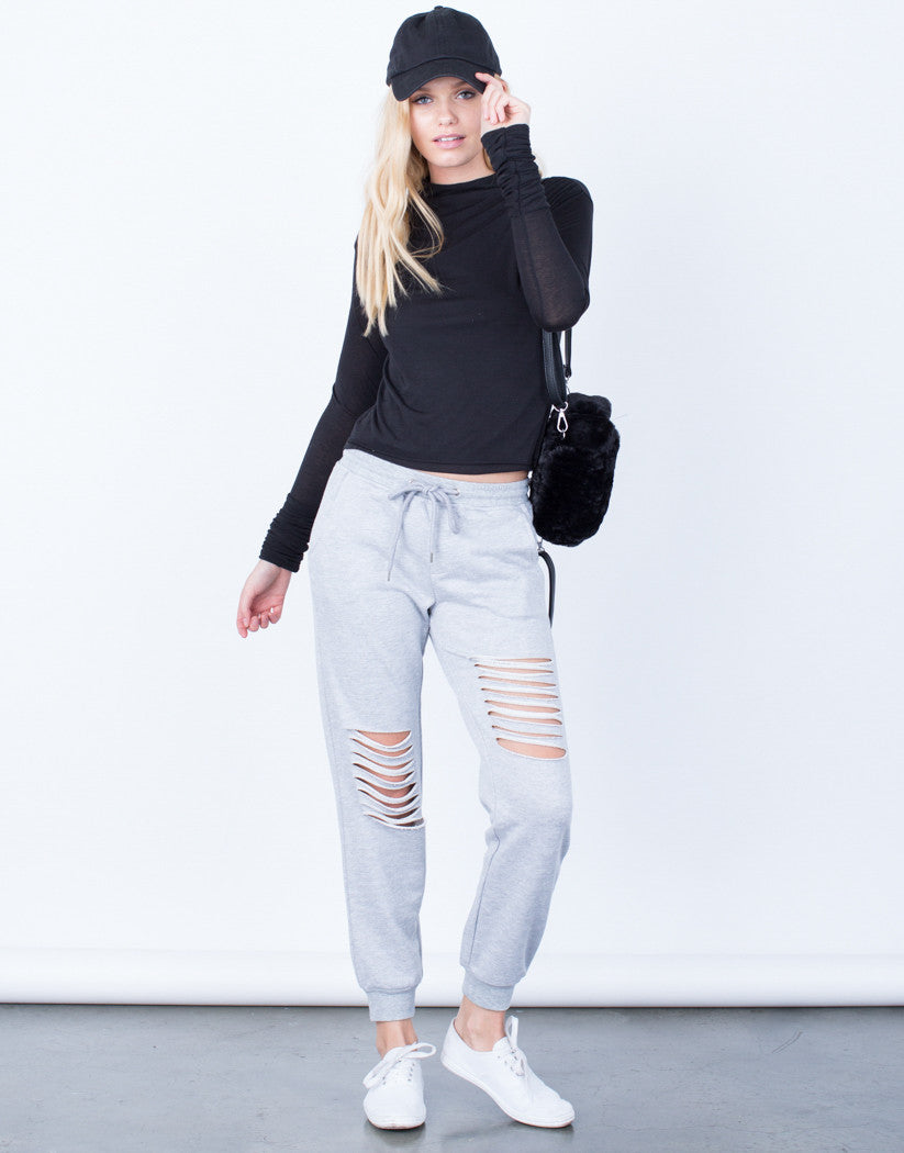 Front View of Comfy Ripped Joggers
