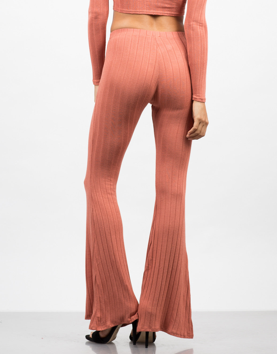 Back View of Comfy Ribbed Flare Pants