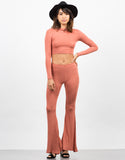 Front View of Comfy Ribbed Flare Pants