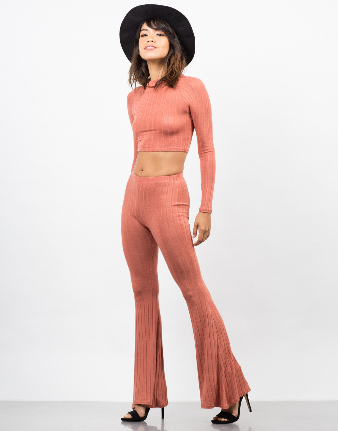 Side View of Comfy Ribbed Flare Pants
