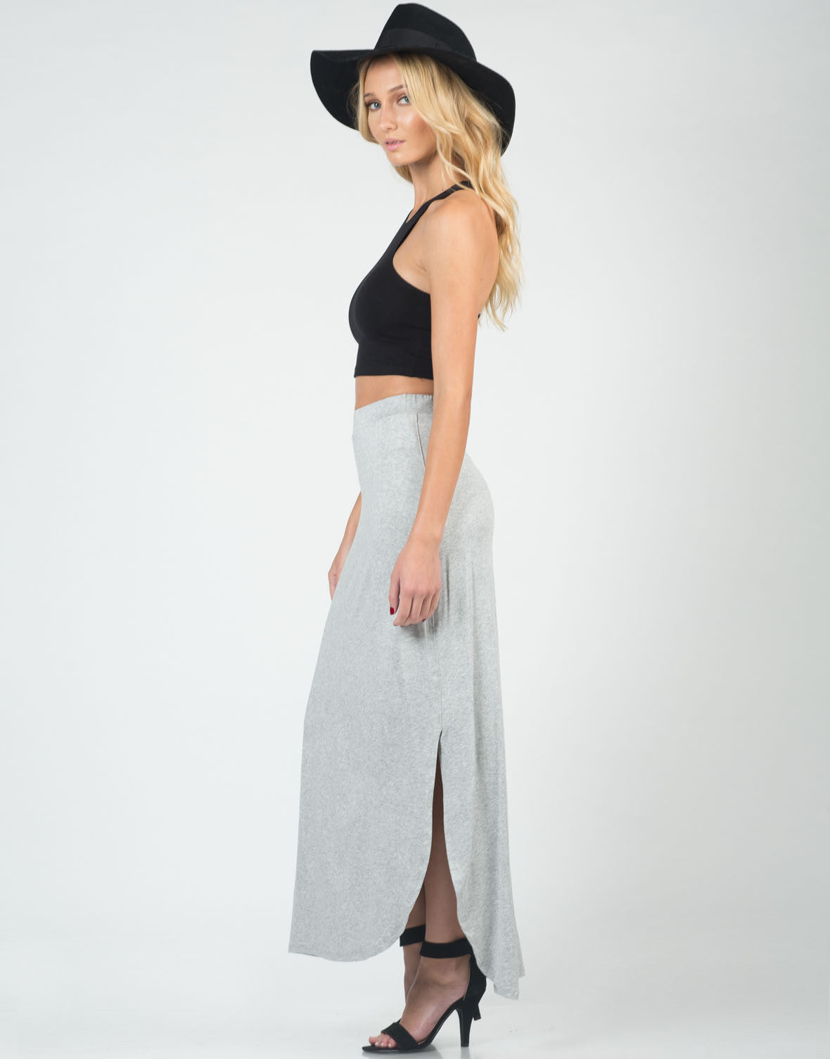 Side View of Comfy Slit Maxi Skirt