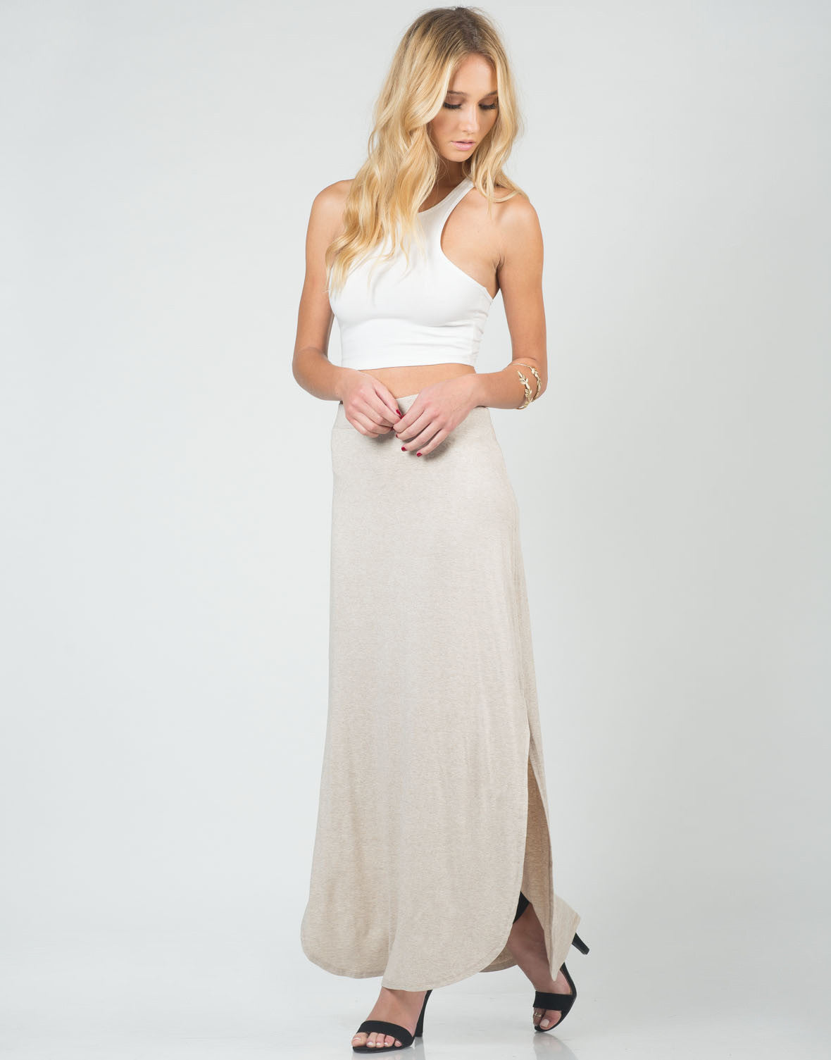 Front View of Comfy Slit Maxi Skirt