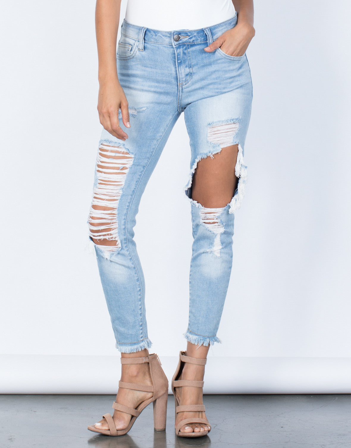 Front View of Completely Destroyed Jeans