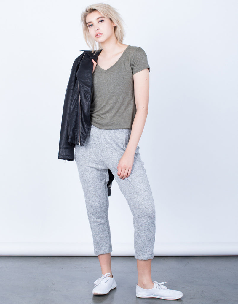 Front View of Comfy Knit Jogger Pants
