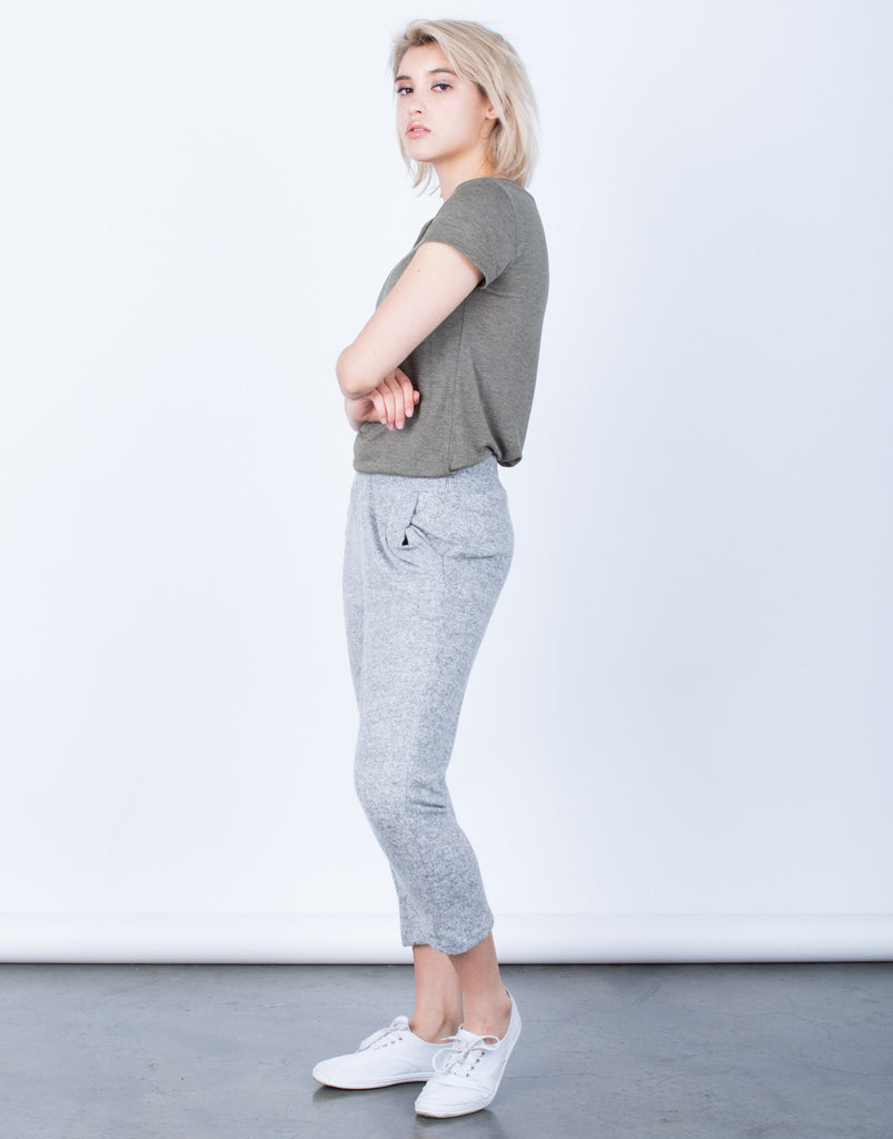 Side View of Comfy Knit Jogger Pants