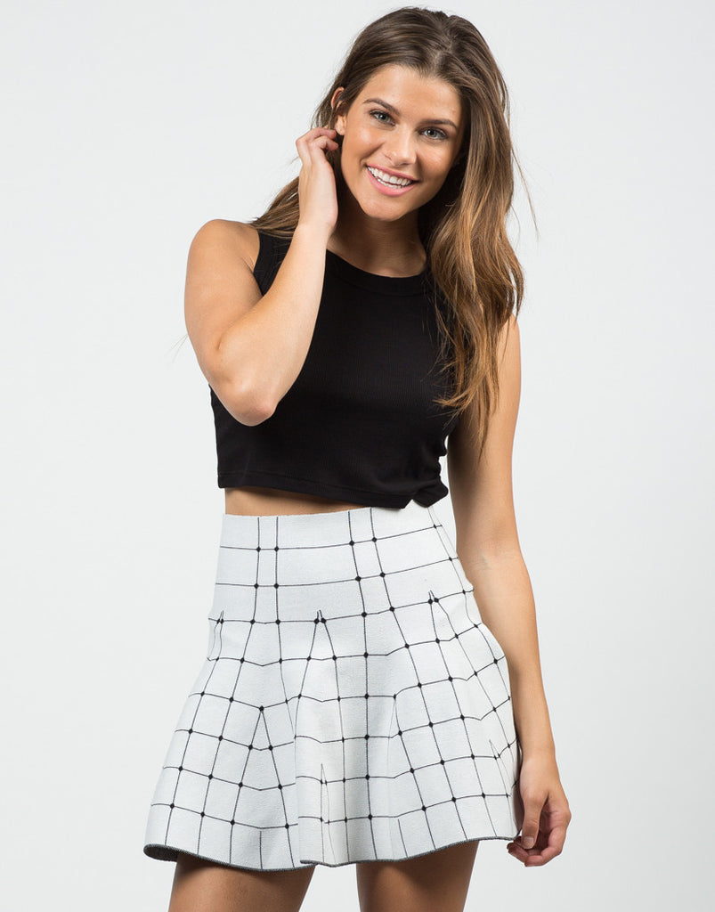 Front View of Connect The Dots Mini Skirt