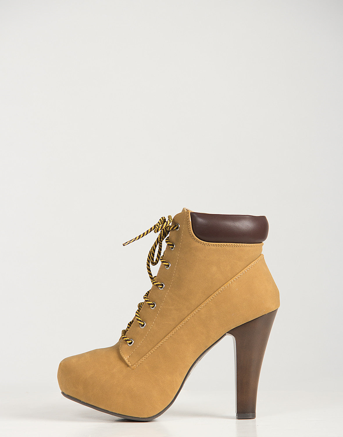Construction Laced Up Ankle Booties
