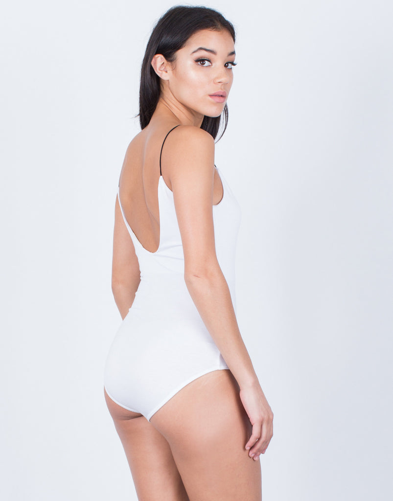 Back View of Contrast Cami Strapped Bodysuit