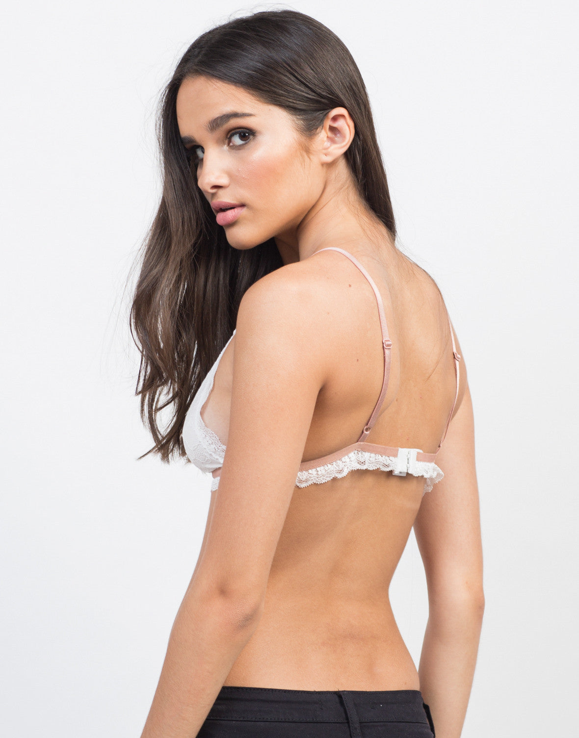 Back View of Contrast Lace Bralette