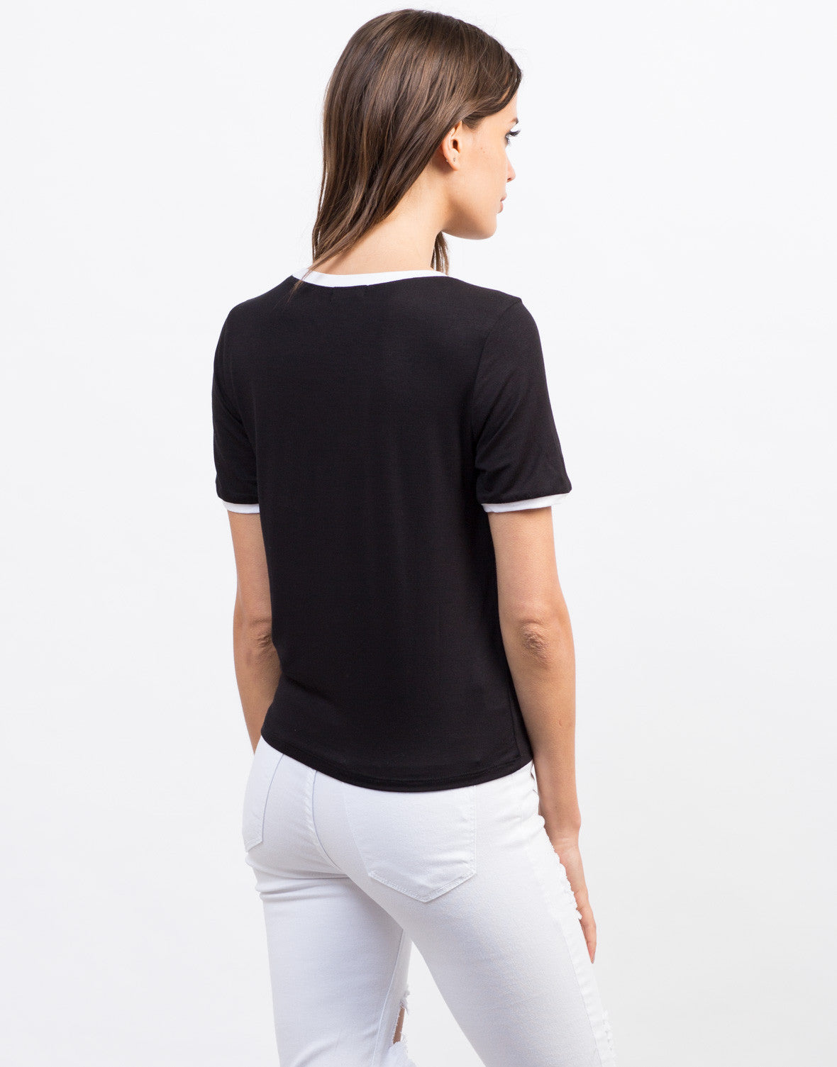 Back View of Contrast Mermaid Tee