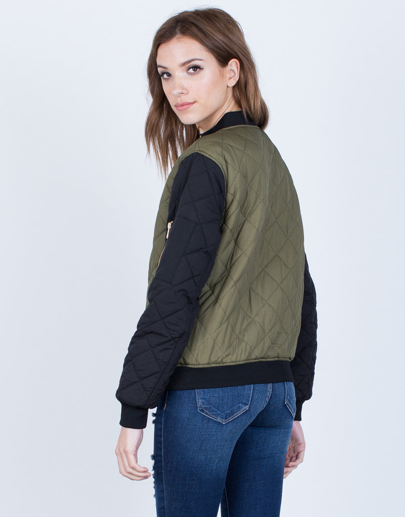 Back View of Contrast Quilted Bomber