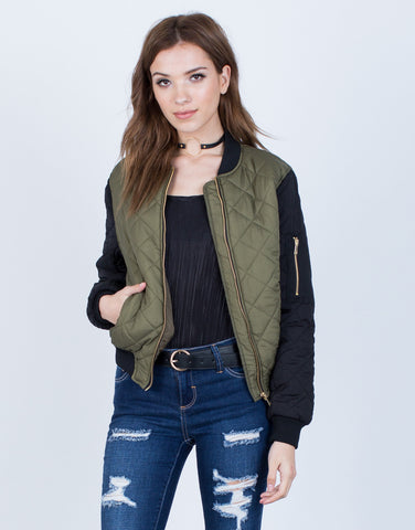 Front View of Contrast Quilted Bomber