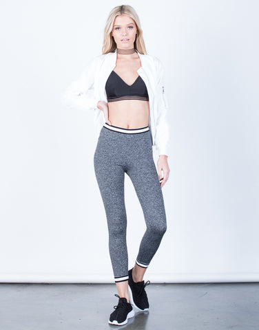 Front View of Contrast Striped Leggings