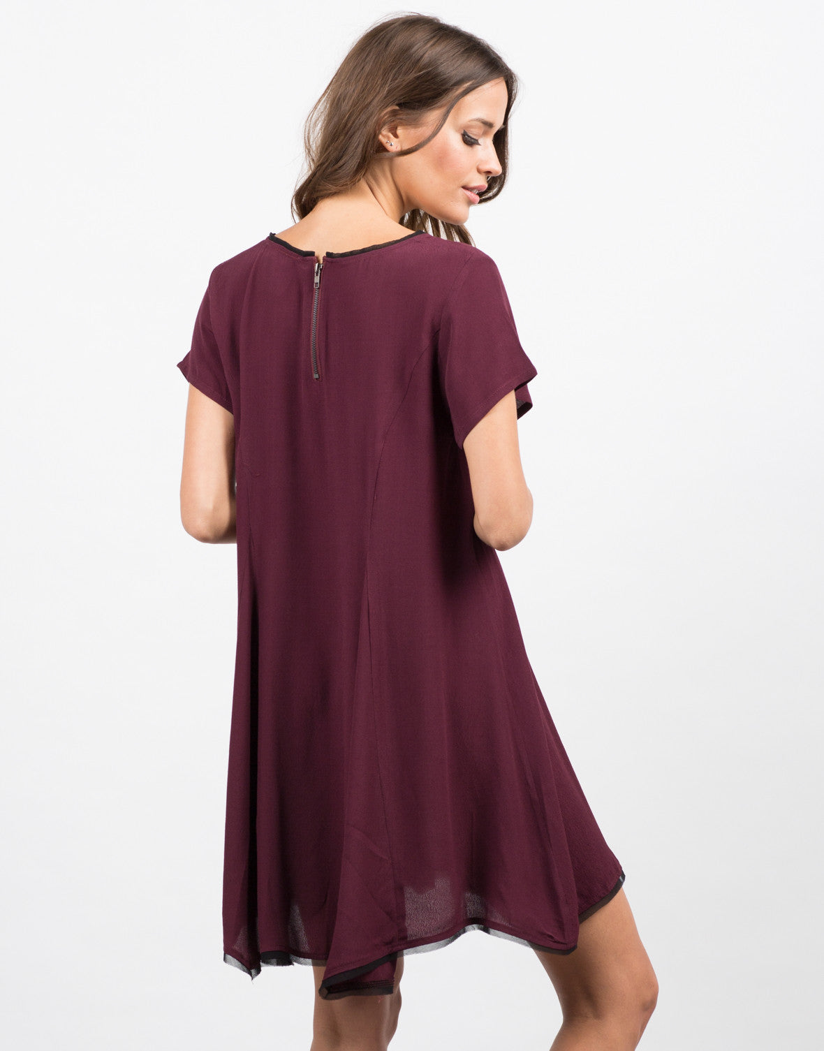 Back View of Contrast Babydoll Dress