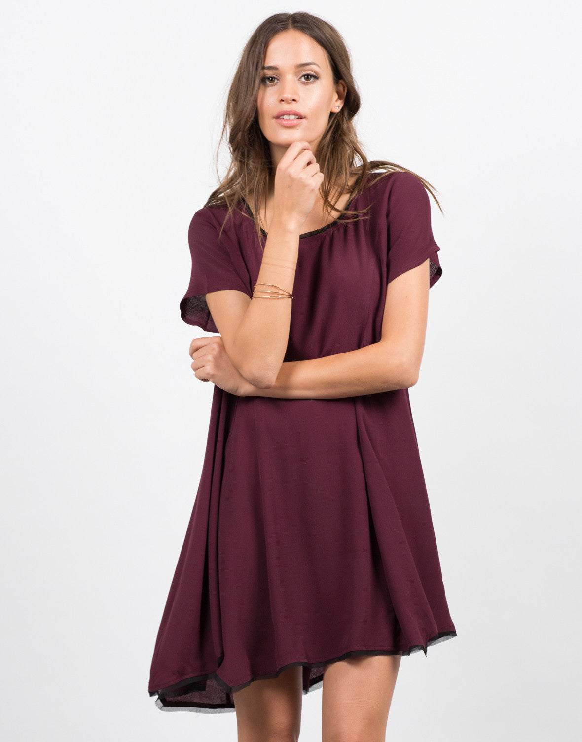 Front View of Contrast Babydoll Dress