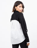 Back View of Contrast Knit Shirt Top