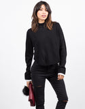 Front View of Contrast Knit Shirt Top