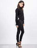 Side View of Contrast Knit Shirt Top