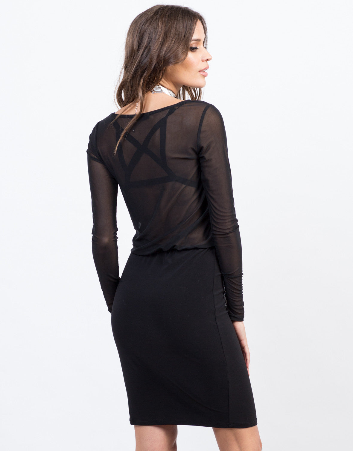 Back View of Contrast Mesh Dress