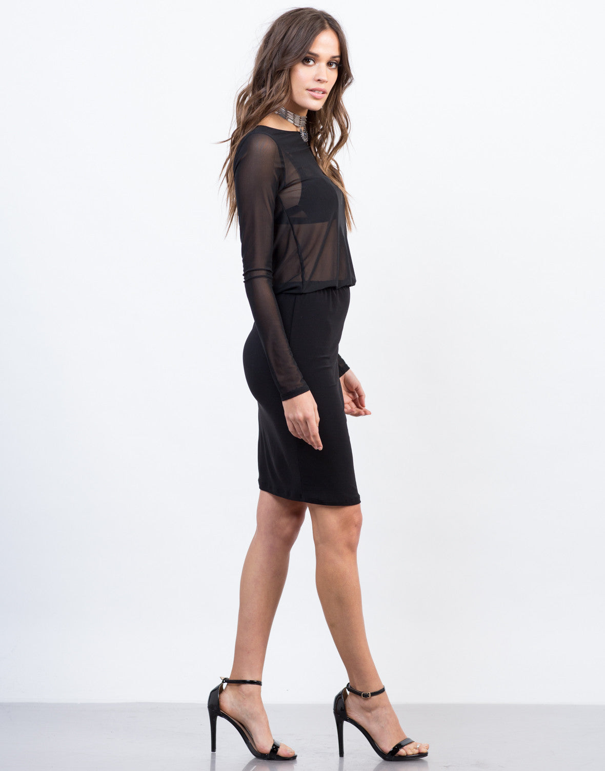 Side View of Contrast Mesh Dress
