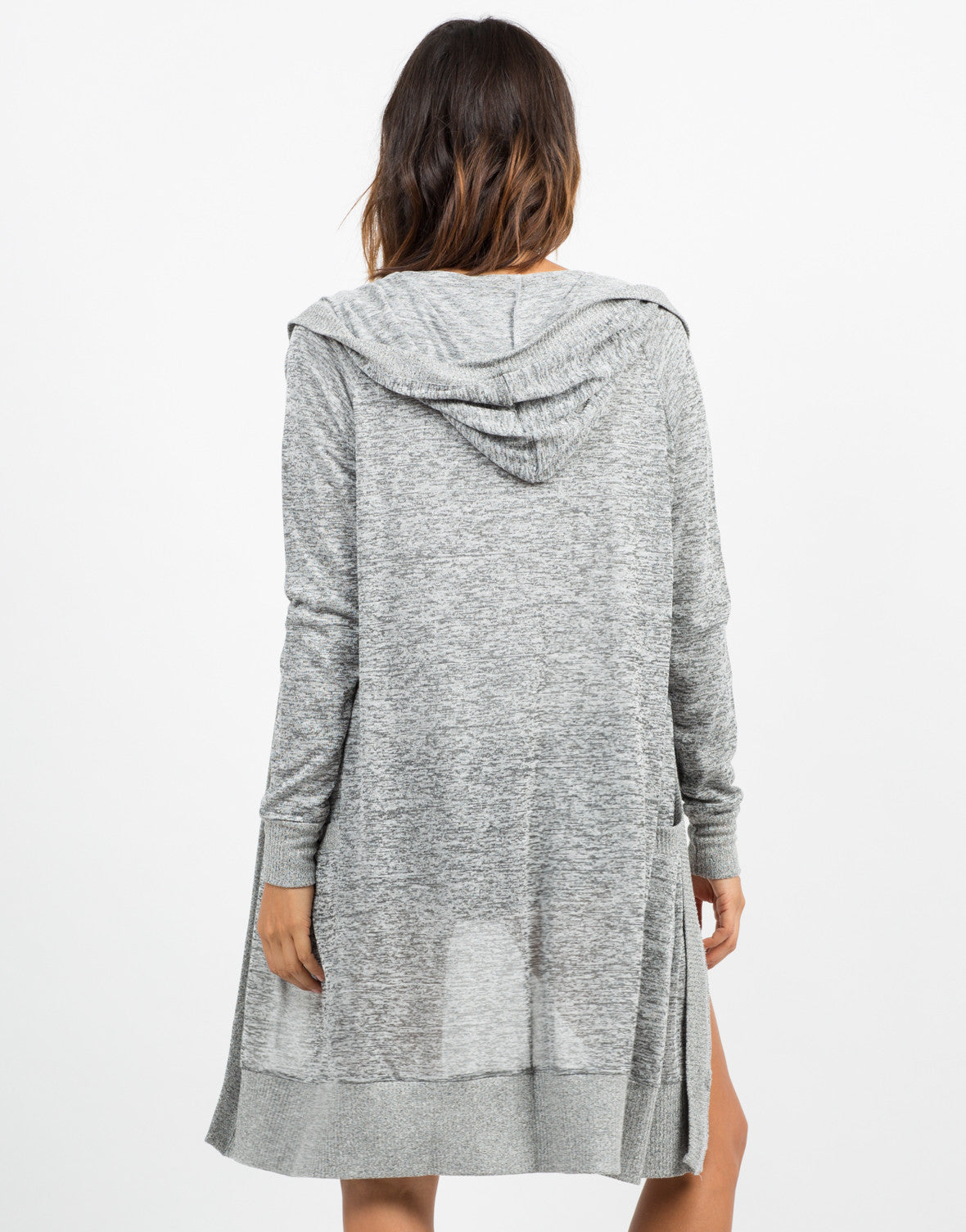 Back View of Contrast Open Hooded Cardigan