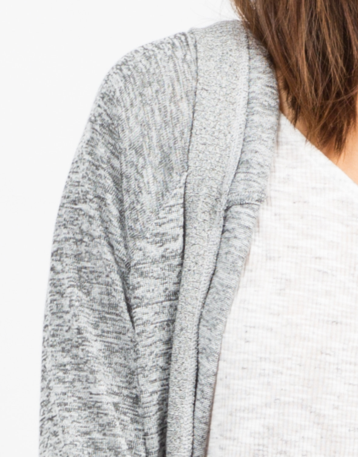 Detail of Contrast Open Hooded Cardigan