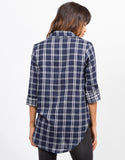 Back View of Contrast Plaid Shirt