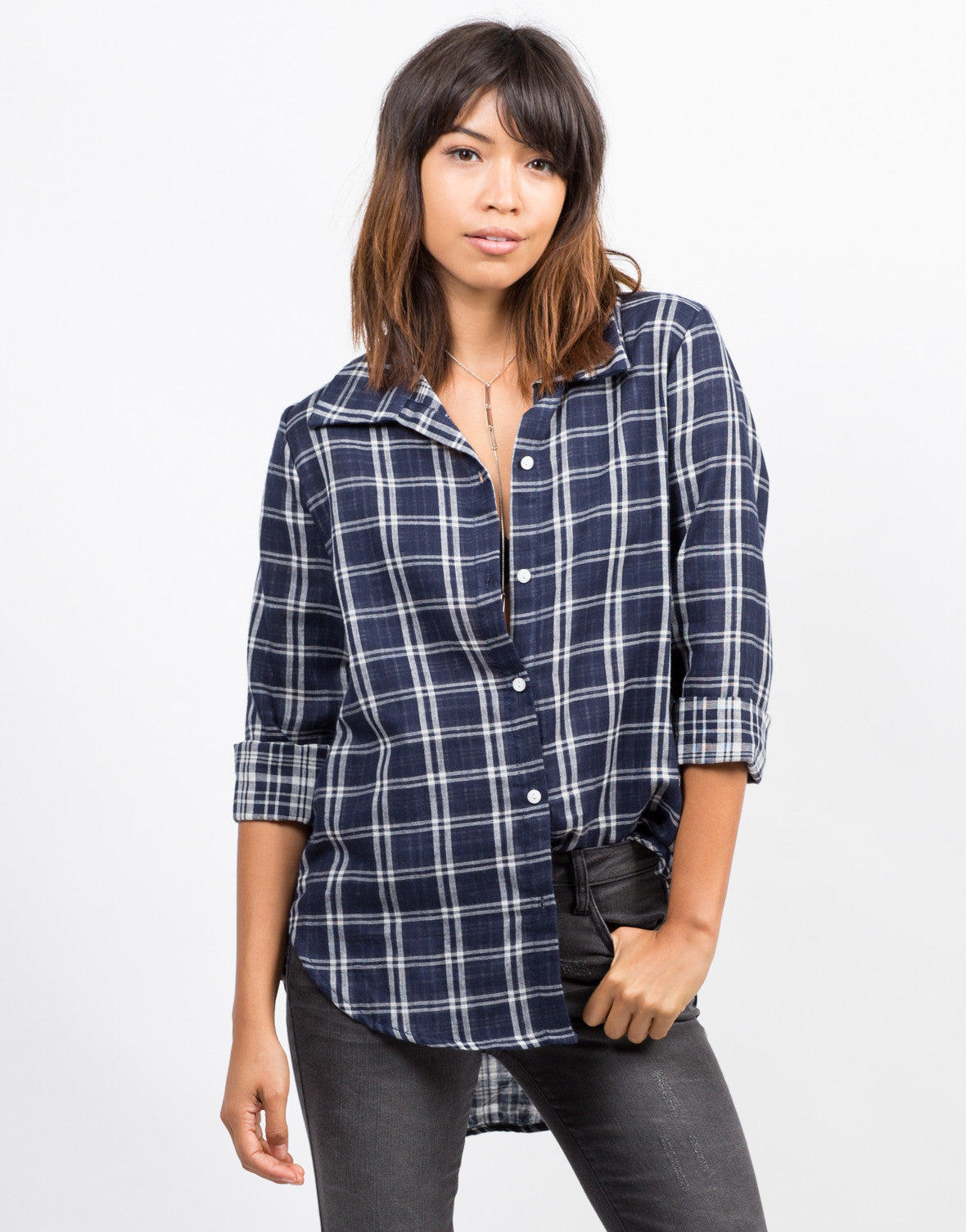 Front View of Contrast Plaid Shirt
