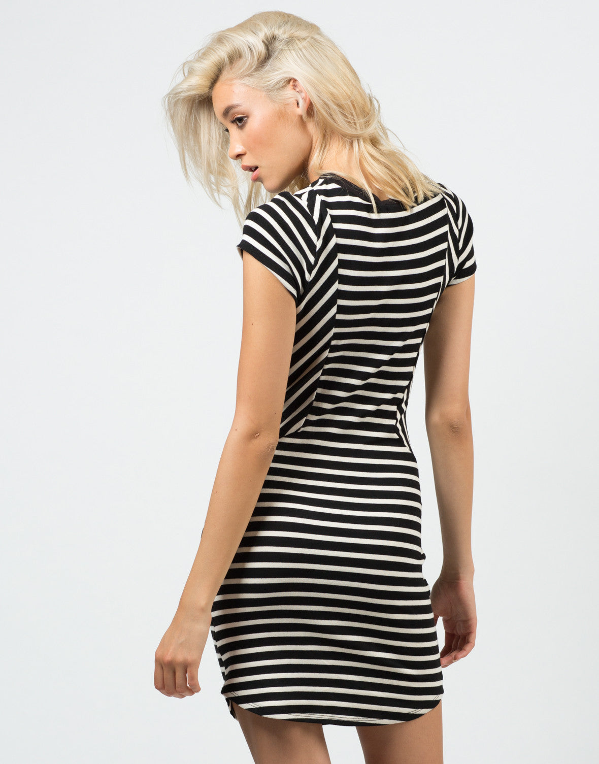 Back View of Contrast Striped Dress