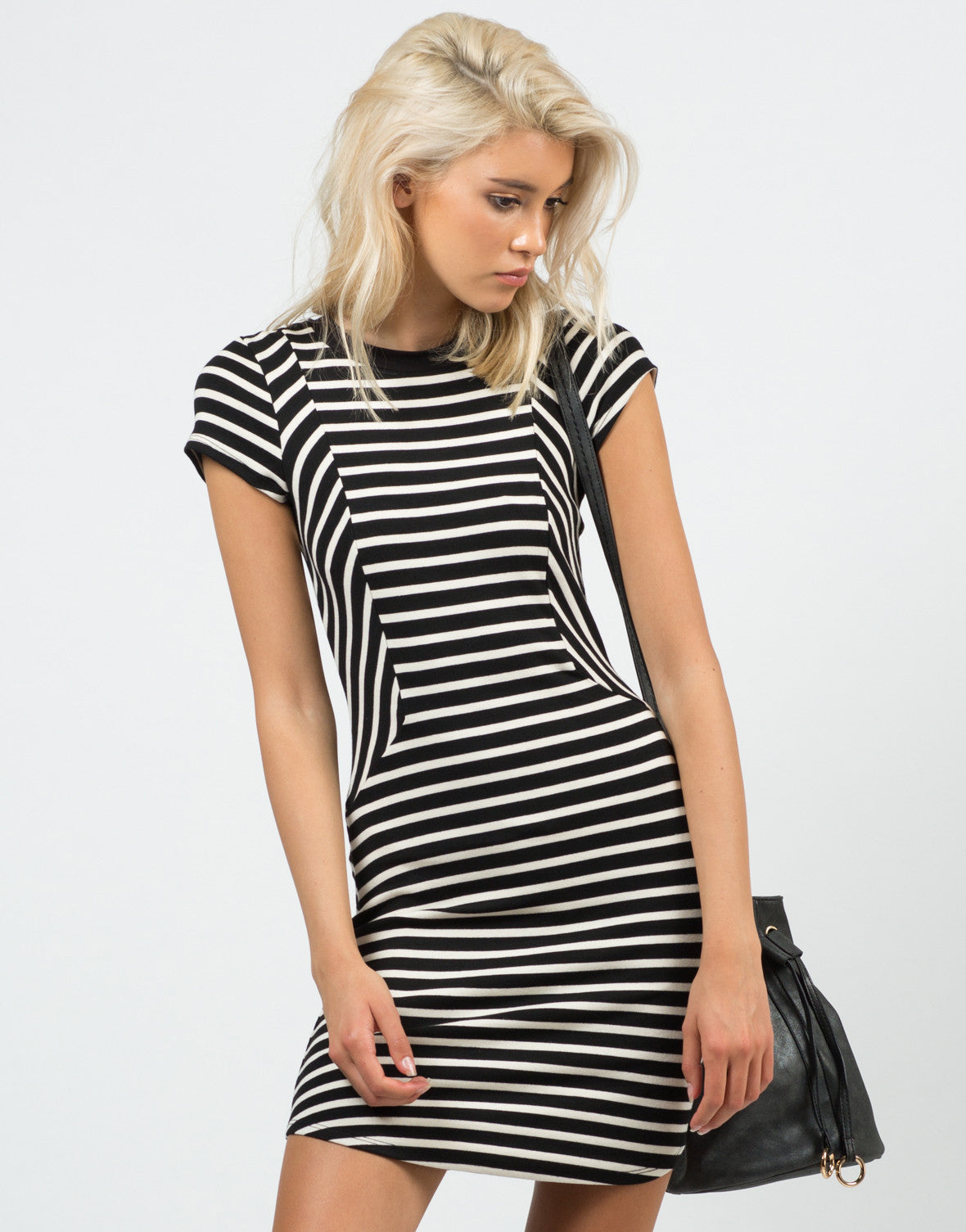 Front View of Contrast Striped Dress