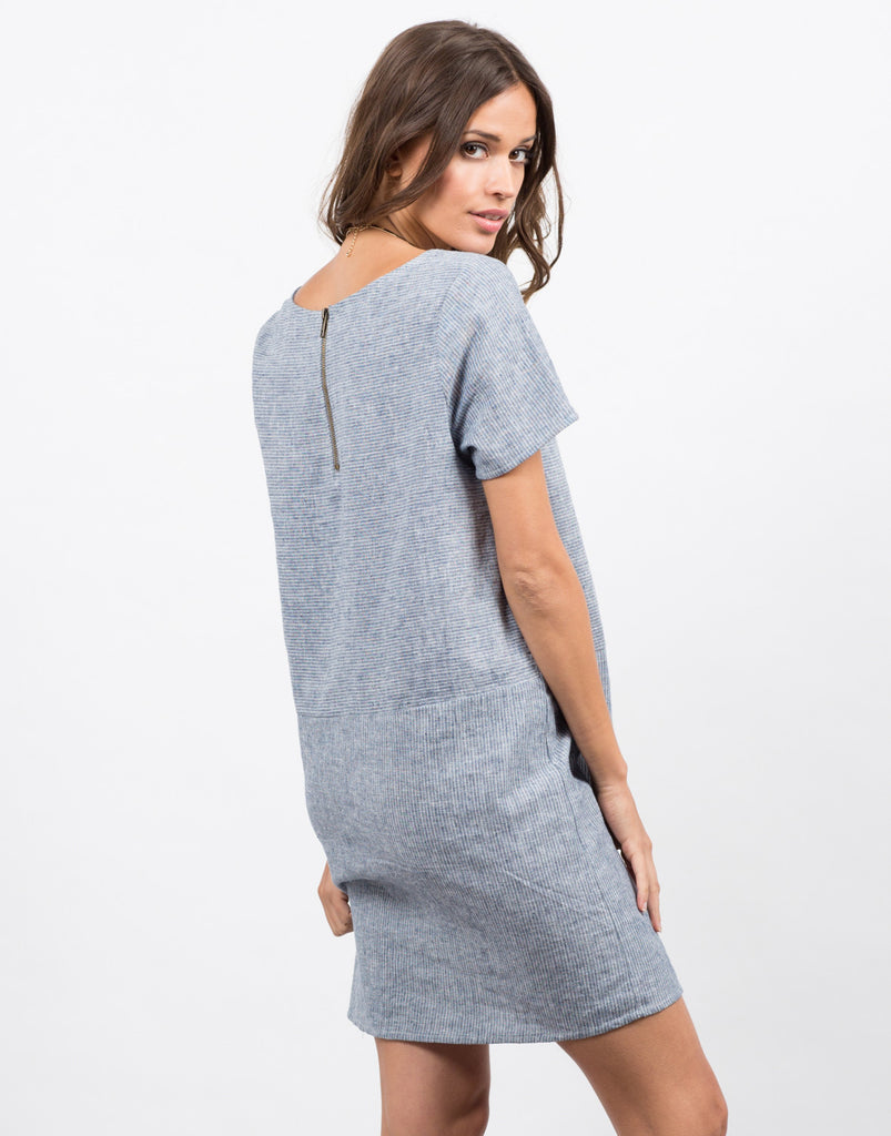 Back View of Contrast Striped Shirt Dress