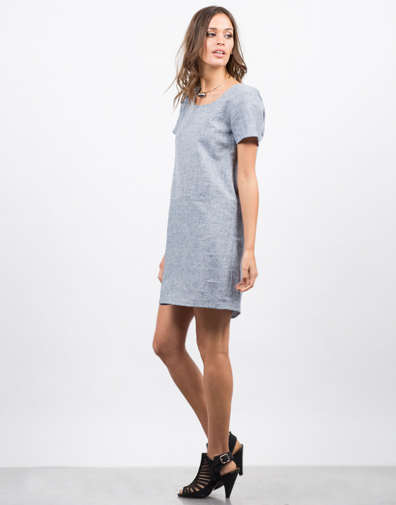 Side View of Contrast Striped Shirt Dress