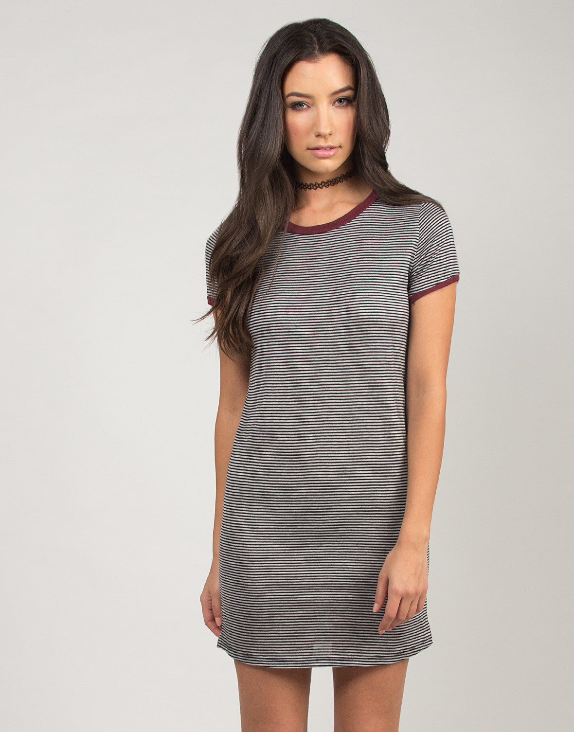 Contrast Trimmed Short Sleeve T-Shirt Dress