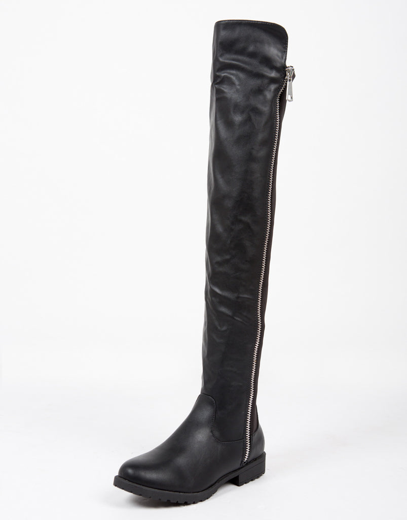 Contrast Zipper Over-the-Knee Boots