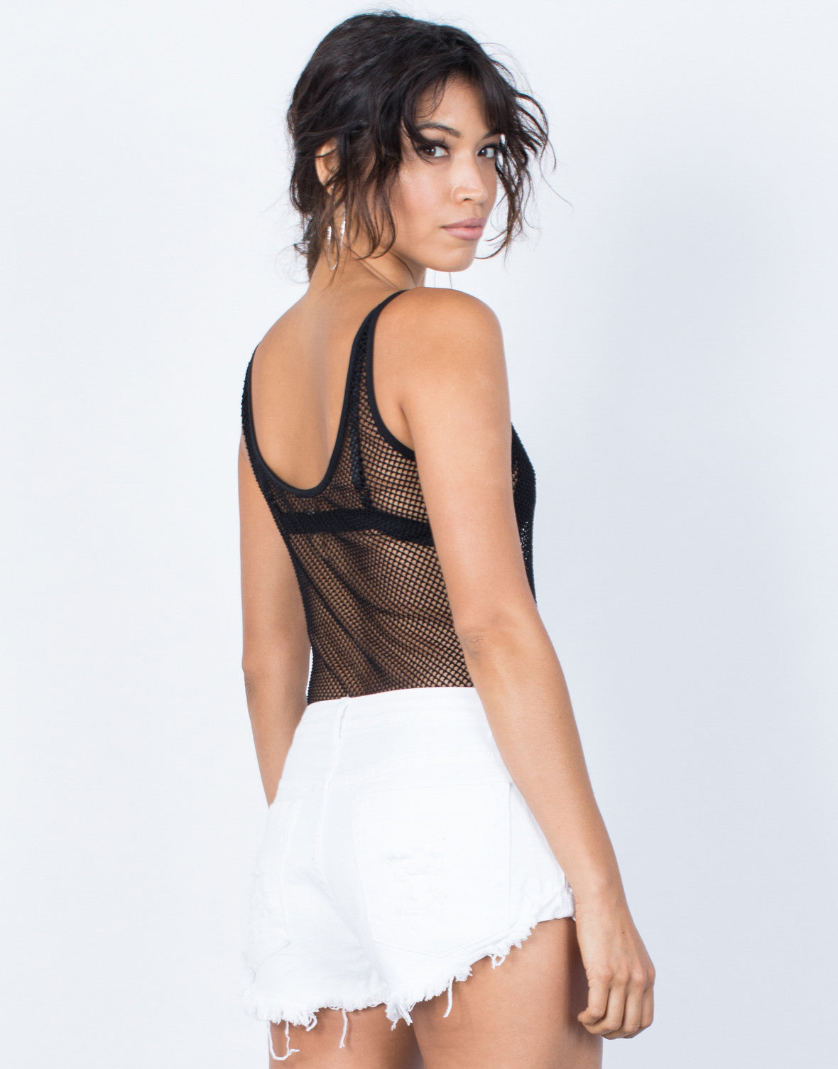 Black Cool Down Netted Bodysuit - Back View