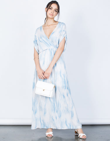 Front View of Cool Waves Maxi Dress