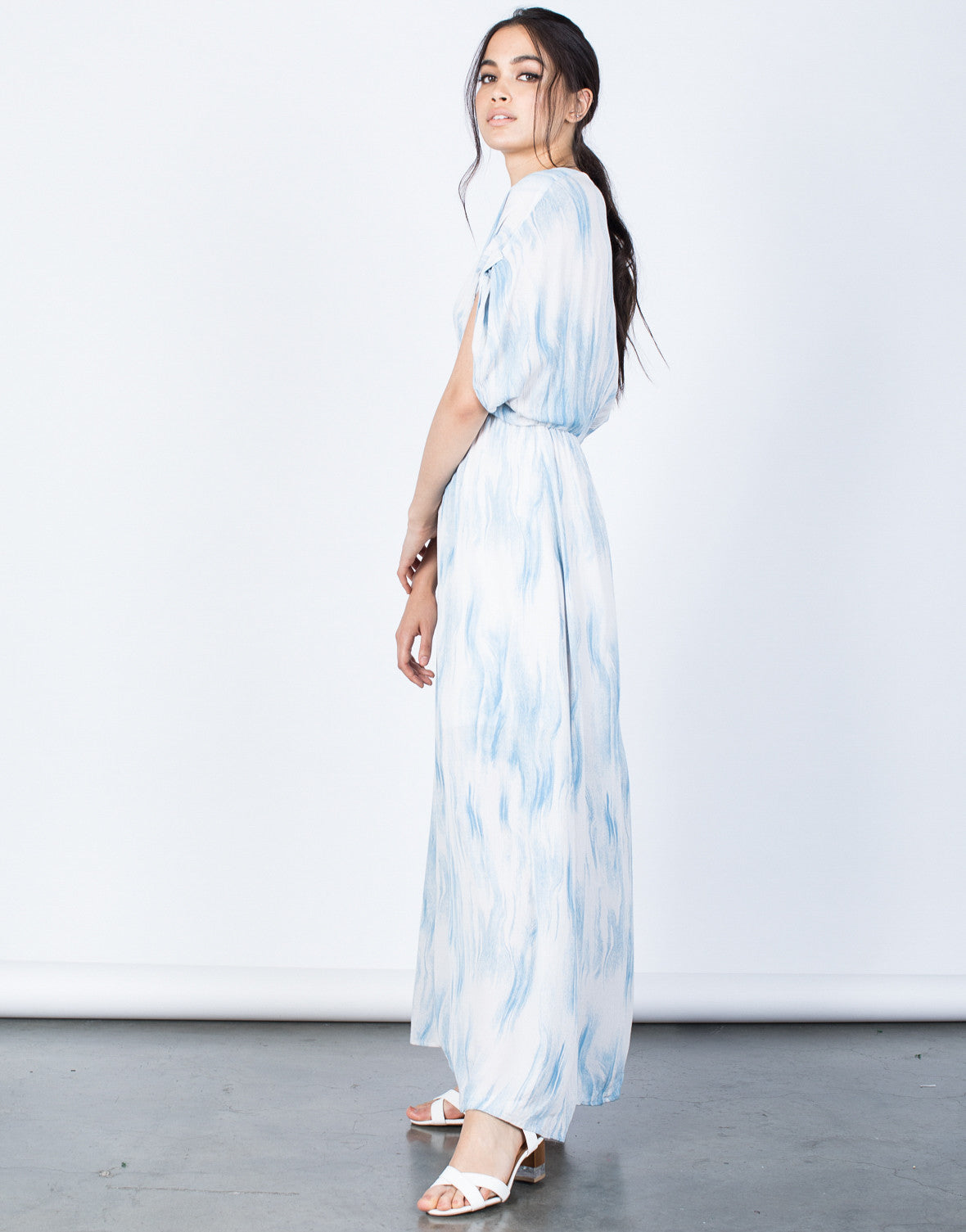 Side View of Cool Waves Maxi Dress