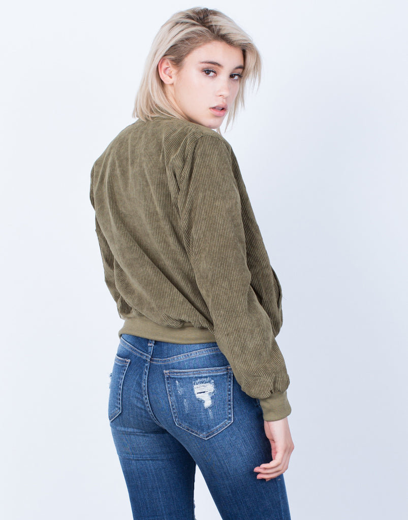 Back View of Corduroy Bomber Jacket