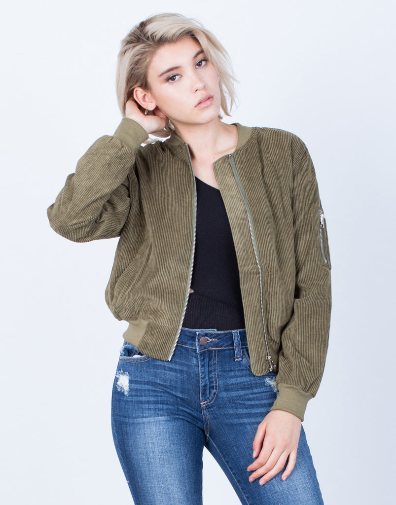 Front View of Corduroy Bomber Jacket