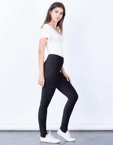 Side View of Corduroy Stirrup Leggings