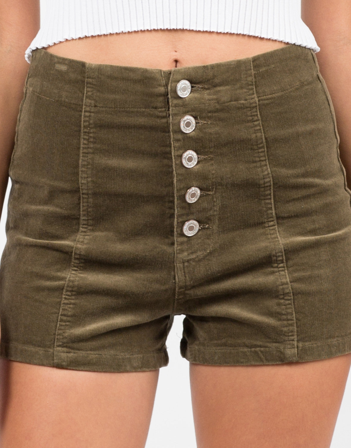 Detail of Corduroy Button Down Shorts