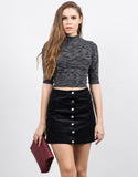 Front View of Corduroy Mini Skirt