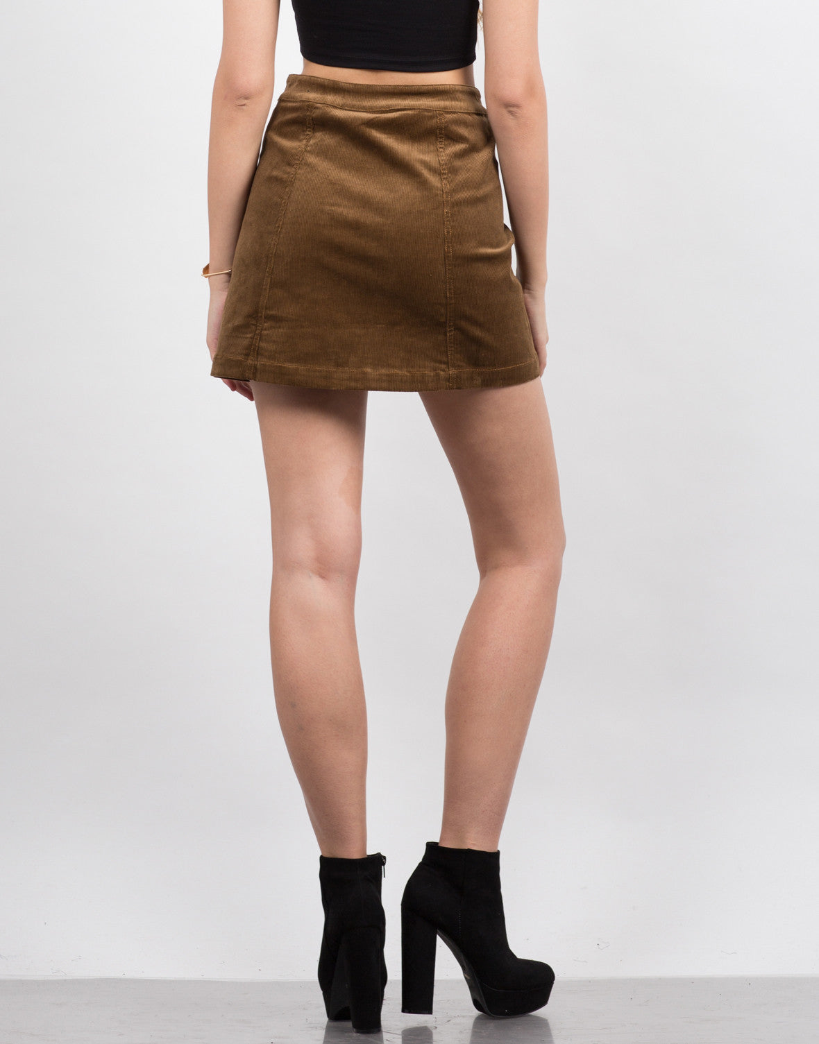 Back View of Corduroy Mini Skirt