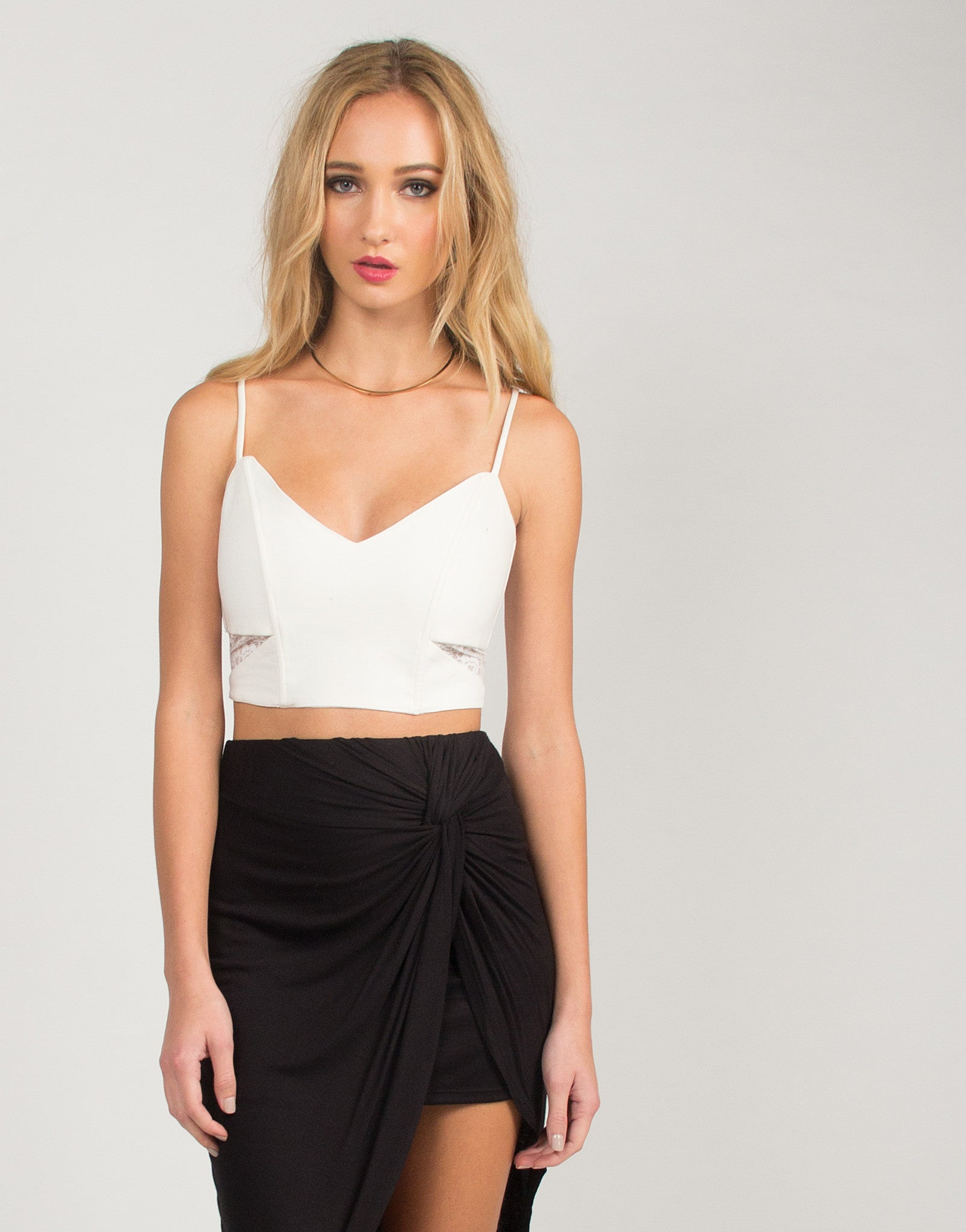 Corset Cropped Top - Ivory
