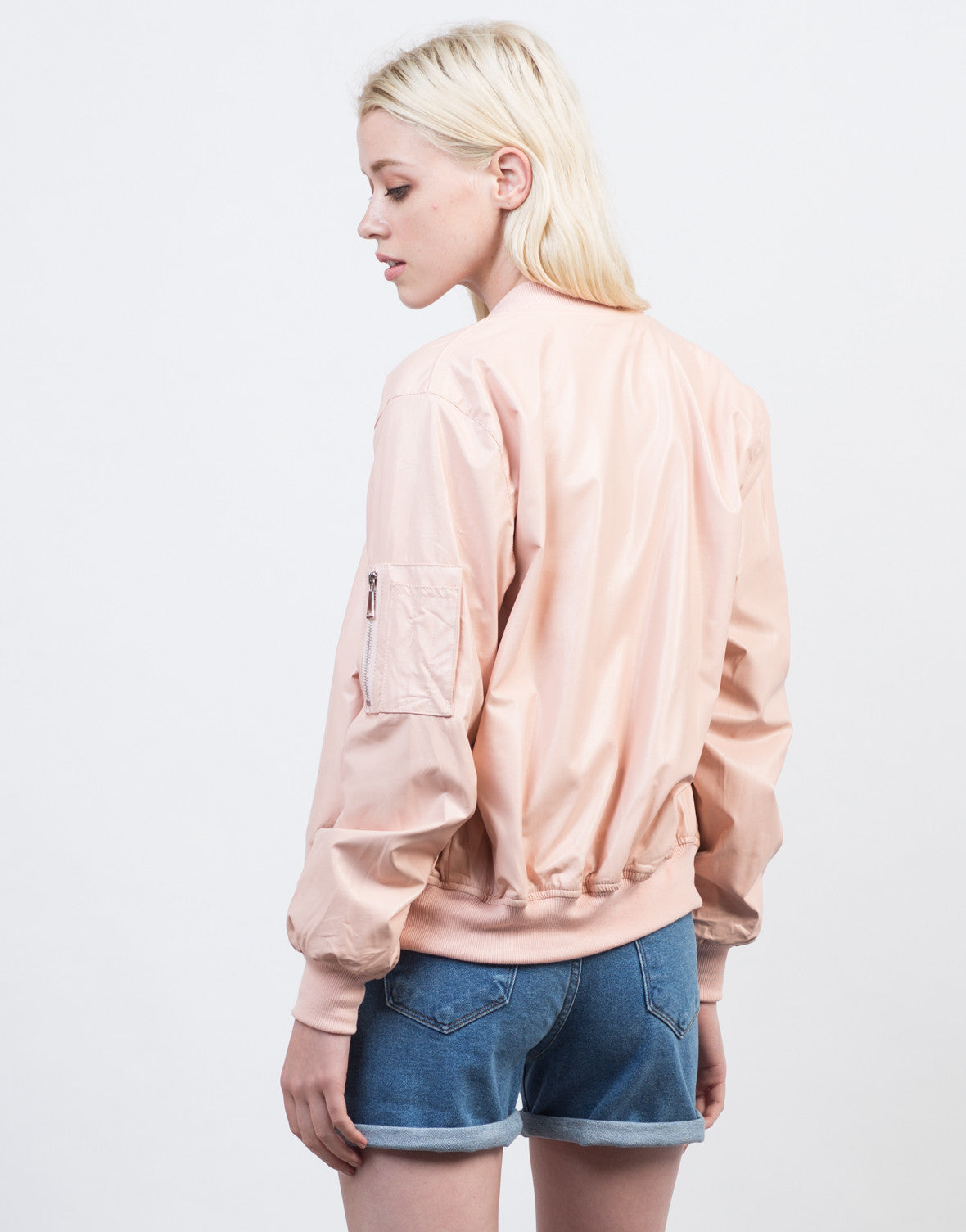 Back View of Cotton Candy Bomber Jacket