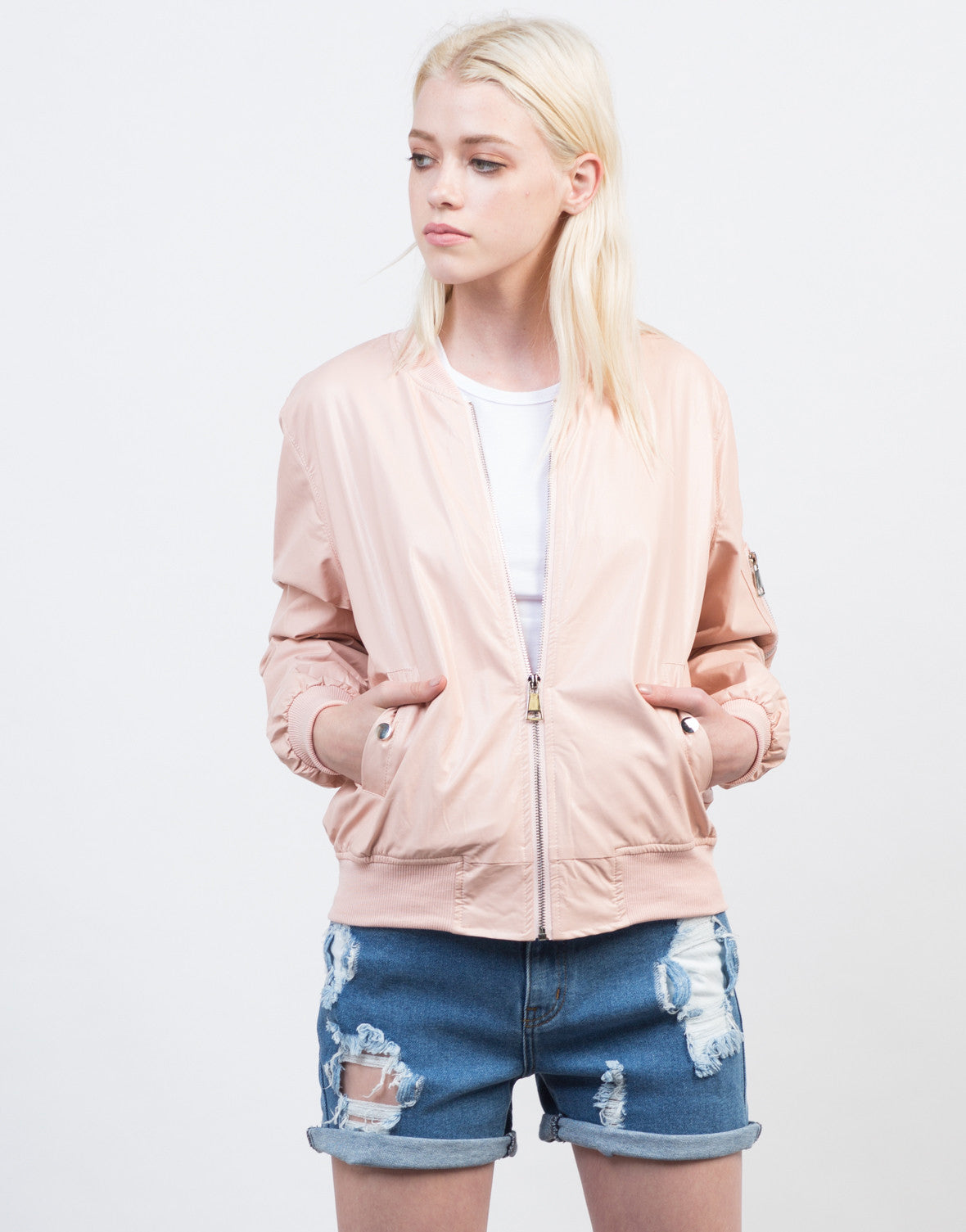 Front View of Cotton Candy Bomber Jacket