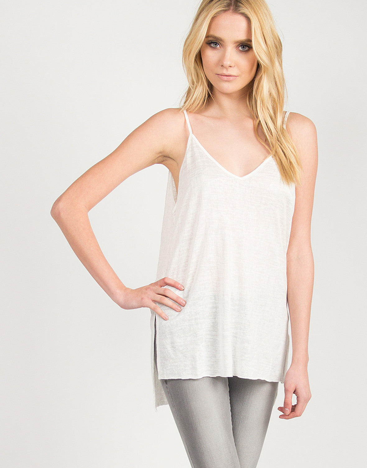 Cotton Knit Double Slit Cami - Ivory