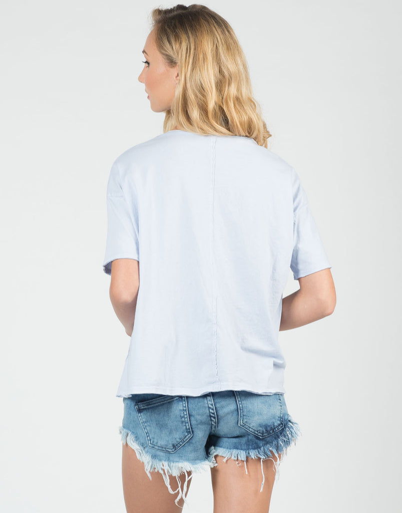 Back View of Cotton Pocket Tee